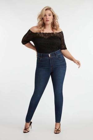 high waist skinny jeans donkerblauw