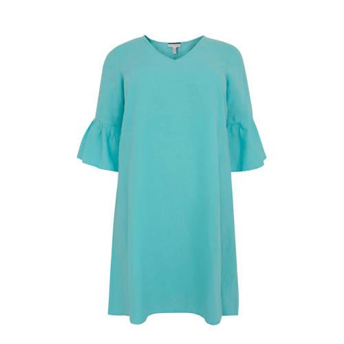 Yoek linnen jurk turquoise