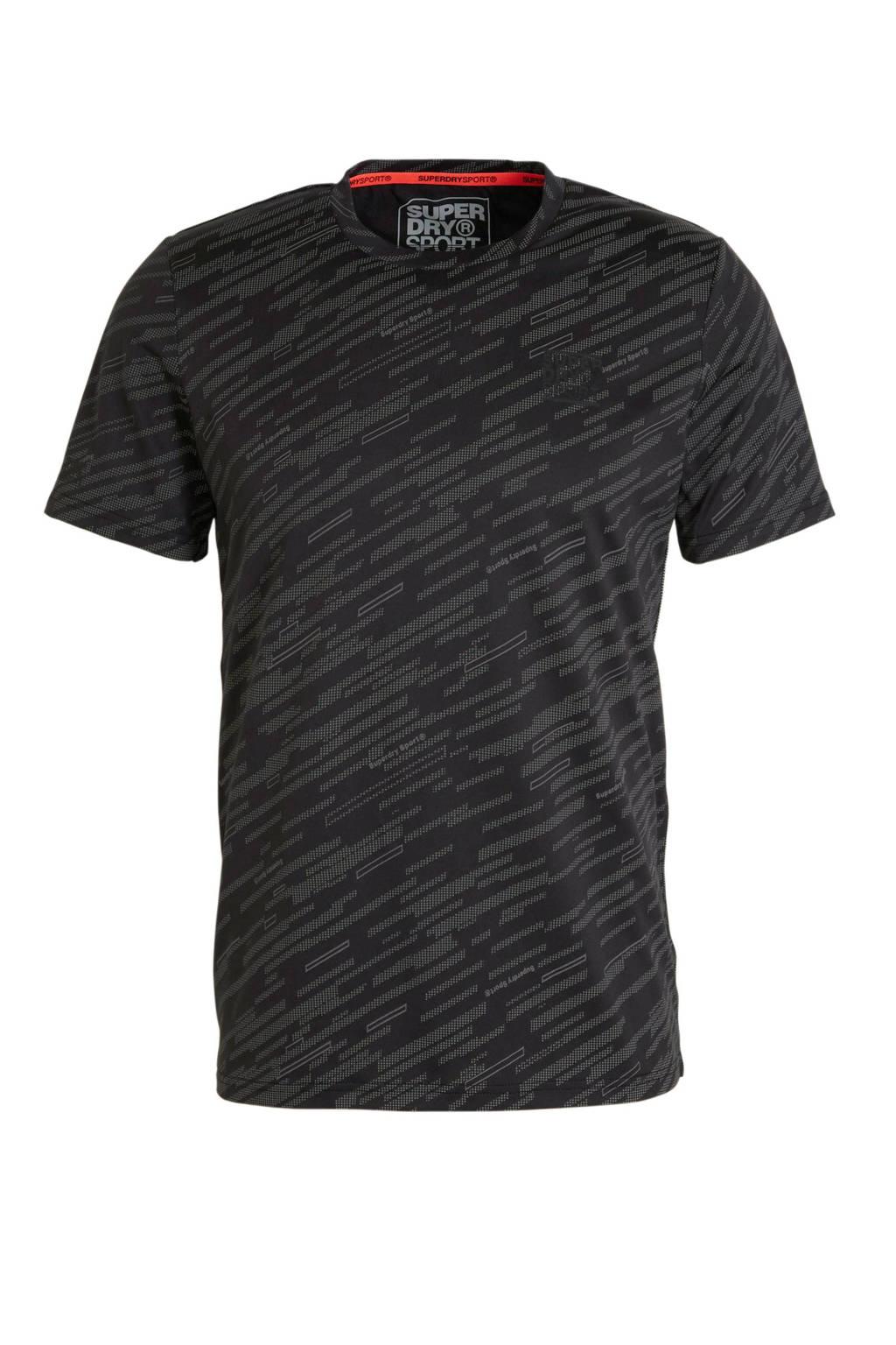 Superdry Sport   T-shirt antraciet, Zwart