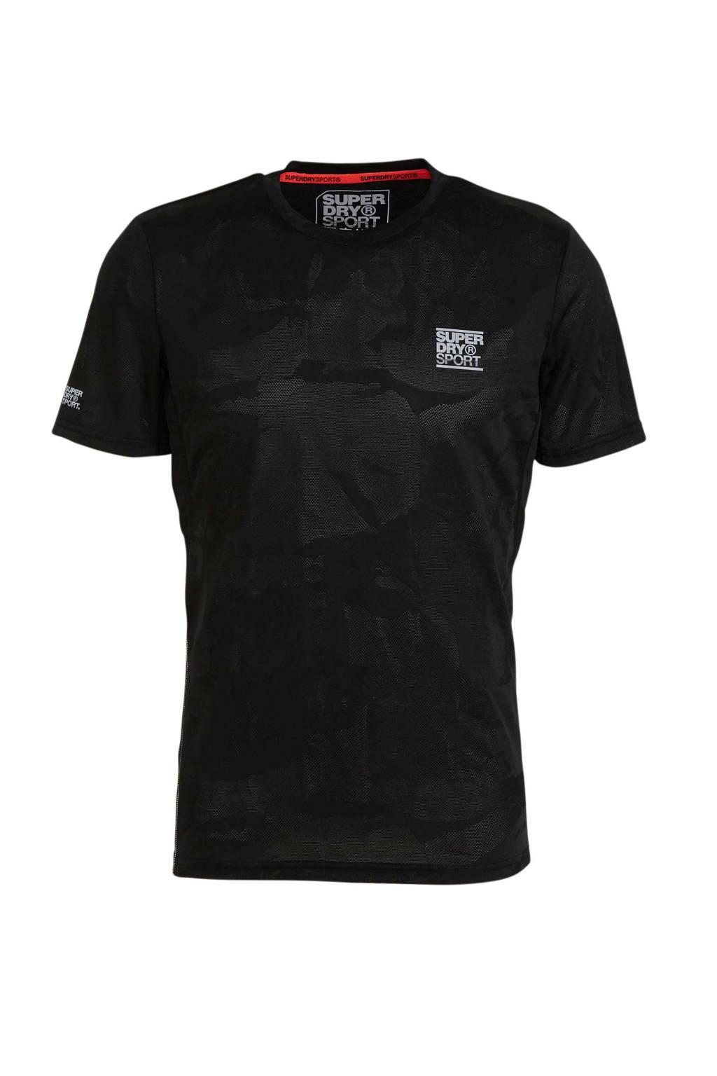 Superdry Sport   T-shirt zwart camouflageprint, Zwart