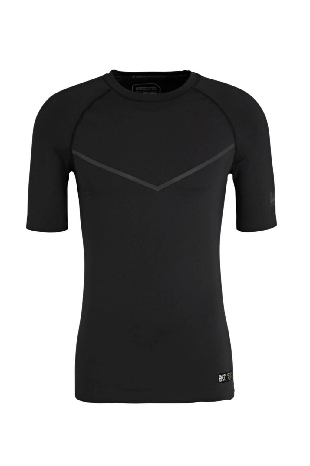Superdry Sport   sport T-shirt zwart, Zwart