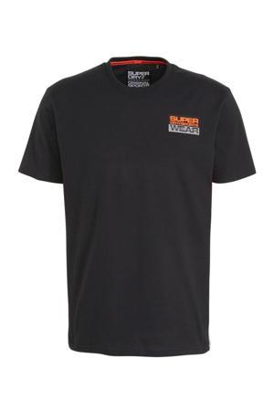 T-shirt zwart/oranje