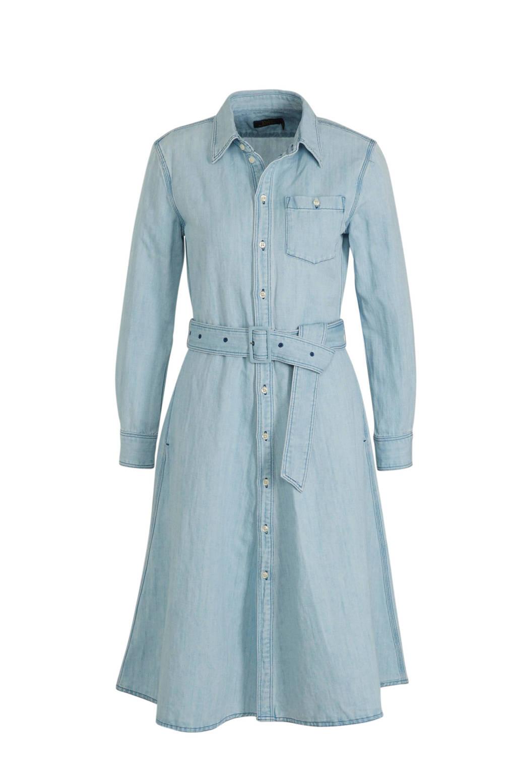 POLO Ralph Lauren blousejurk en ceintuur lichtblauw, Lichtblauw