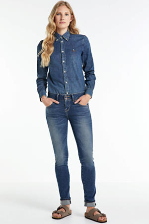 denim blouse blauw
