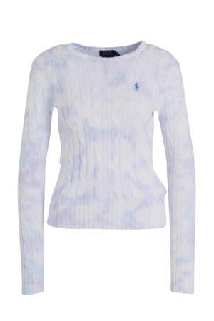 tie-dye kabeltrui wit/lichtblauw/lila