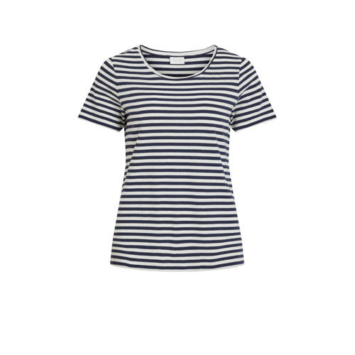 VILA gestreept T-shirt donkerblauw