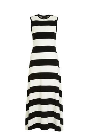 gestreepte maxi jurk zwart/wit