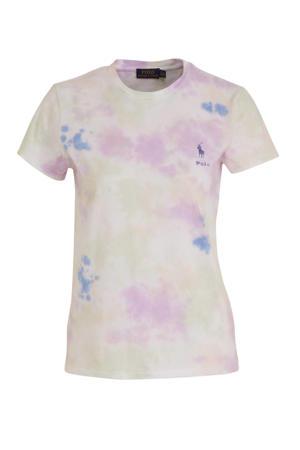 tie-dye T-shirt roze/geel