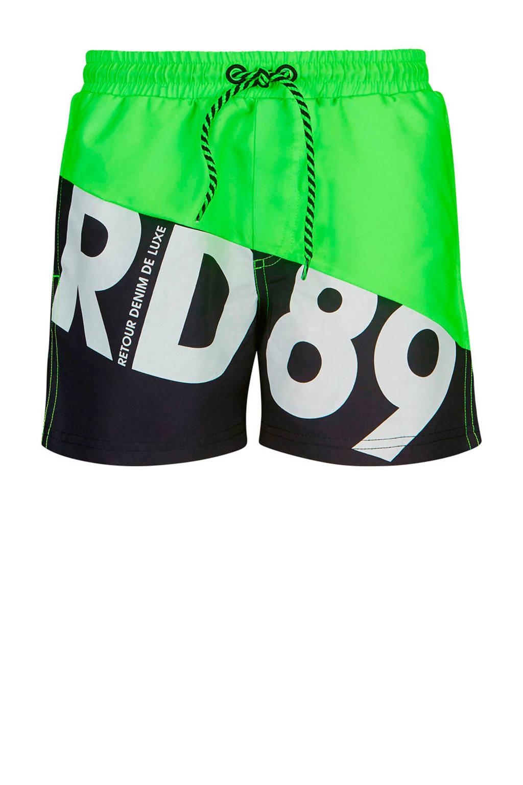 Retour Denim zwemshort Elmo neon groen/zwart