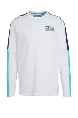 T-shirt wit/blauw