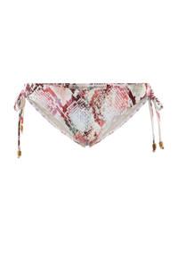 PIECES strik bikininbroekje Noelle met slangenprint lichtbeige, Lichtbeige