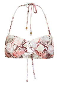 PIECES bandeau bikinitop Noelle met slangenprint lichtbeige, Lichtbeige