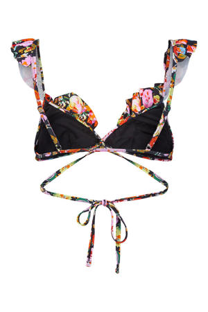 gebloemde bikinitop Nabiya zwart/roze/oranje