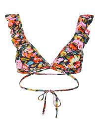 PIECES gebloemde bikinitop Nabiya zwart/roze/oranje, Zwart/roze/oranje