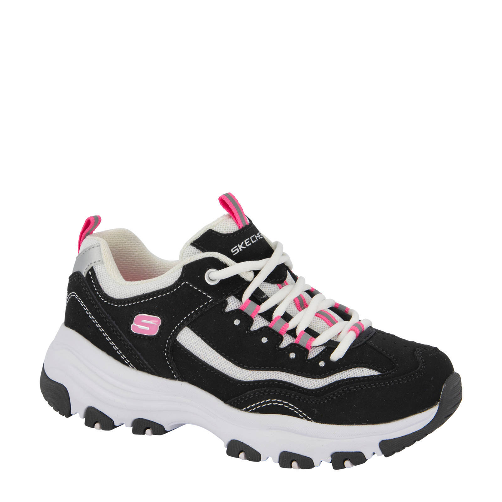 Skechers D'Lite Chunky Sneakers In White And Pink Multi