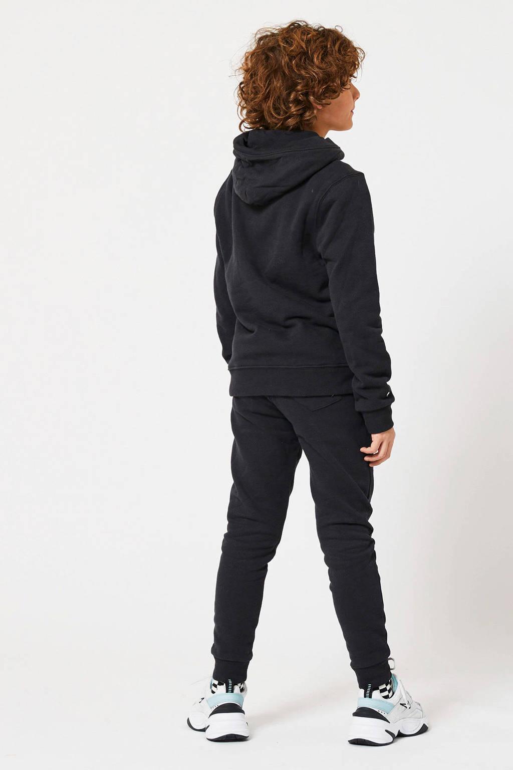 America Today Junior hoodie Steven met tekst zwart/ecru, Zwart/ecru
