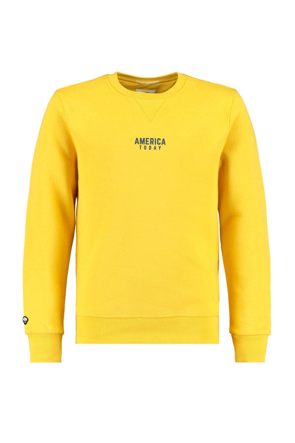 America Today Junior sweater Scott met tekst geel/antraciet, Geel/antraciet
