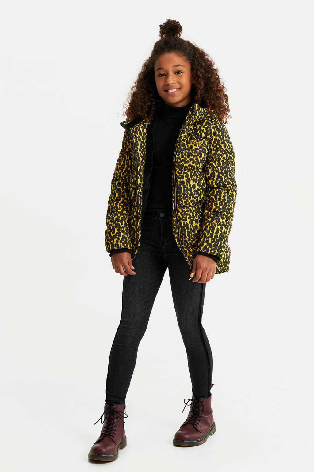 WE Fashion gewatteerde winterjas met panterprint geel/zwart, Geel/zwart