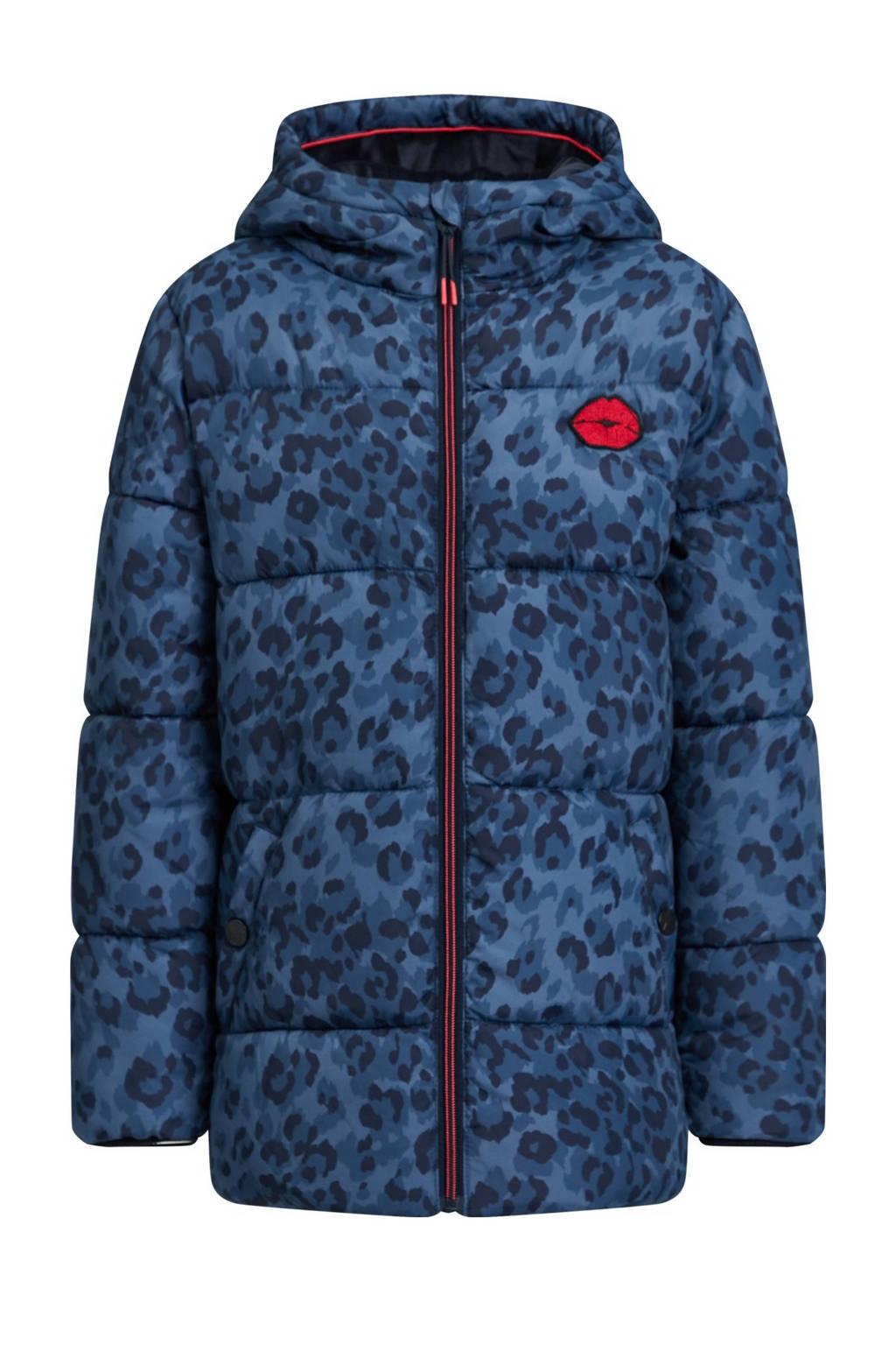 WE Fashion gewatteerde winterjas met panterprint donkerblauw, Donkerblauw