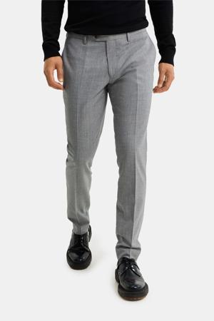 gemêleerde slim fit pantalon grey melange
