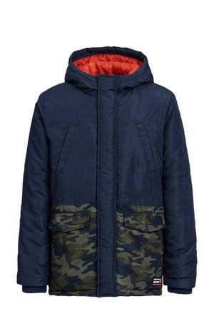gewatteerde winterjas met camouflageprint donkerblauw