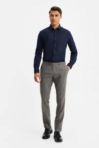 WE Fashion geruite slim fit pantalon met wol bruin/marine, Bruin/marine