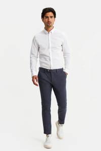 WE Fashion slim fit pantalon blauw melange