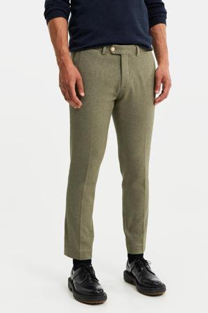 slim fit pantalon groen melange