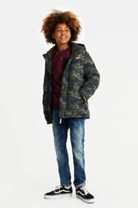 WE Fashion gewatteerde winterjas met camouflageprint army groen, Army groen