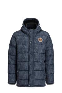 WE Fashion gewatteerde winterjas met 3D applicatie donkerblauw, Donkerblauw