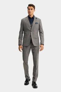 WE Fashion slim fit colbert met pied-de-poule bruin/blauw, Bruin/blauw