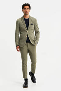 WE Fashion slim fit colbert groen melange, Olijfgroen melange