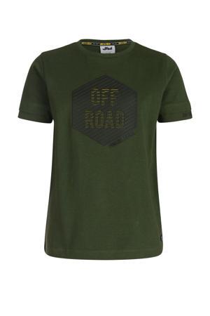 T-shirt Jace met printopdruk donkergroen/zwart