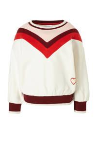 C&A Palomino sweater met glitters ecru/rood/lichtroze, Ecru/rood/lichtroze