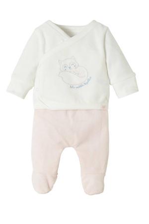 pyjamabroek en longsleeve lichtroze/wit met borduursels