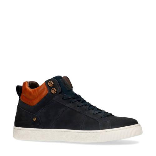 Manfield halfhoge nubuck sneakers donkerblauw