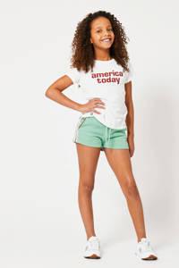 America Today Junior sweatshort Nicci met zijstreep mintgroen/ecru/rood, Mintgroen/ecru/rood
