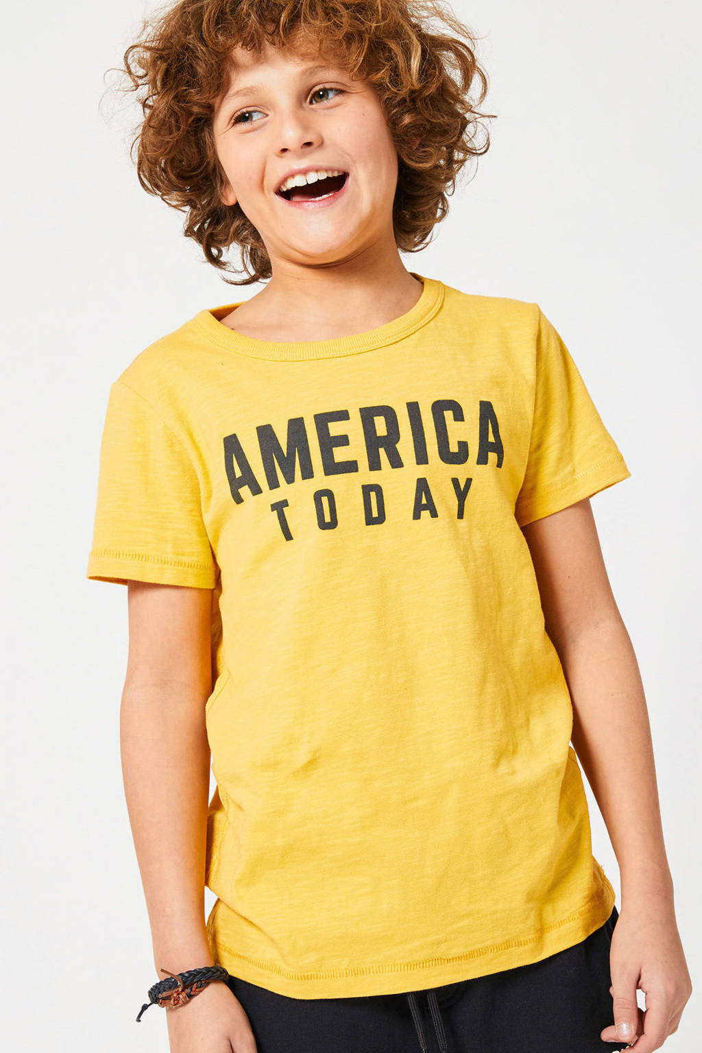 America Today Junior T-shirt Easton met logo geel/donkerblauw, Geel/donkerblauw