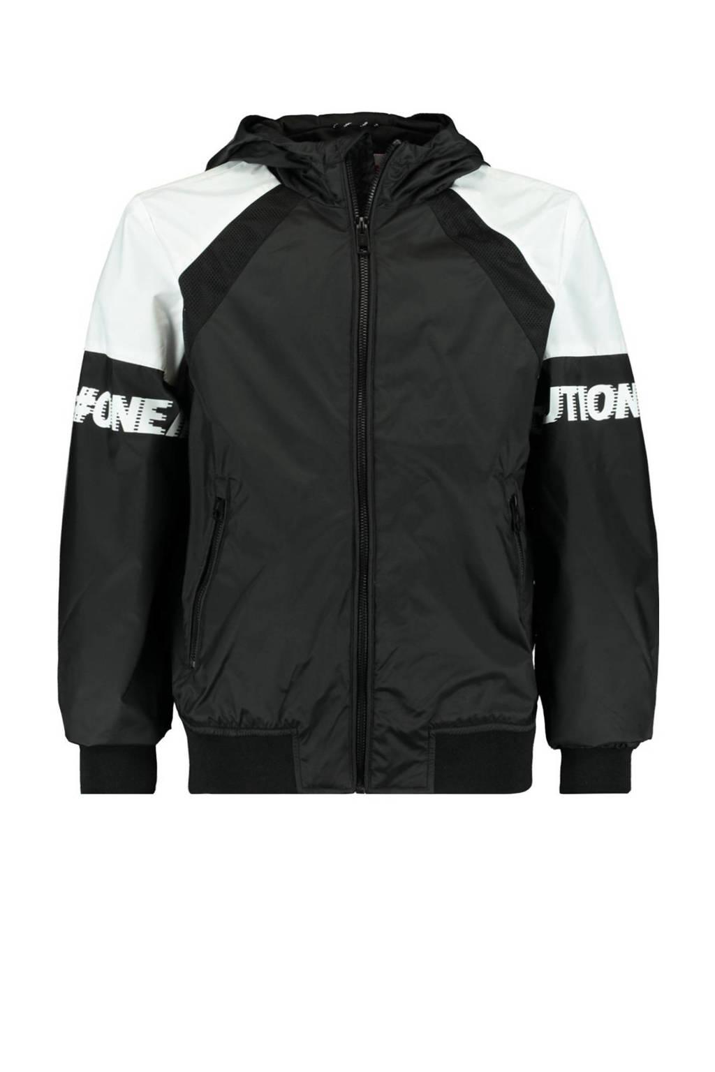 CoolCat Junior zomerjas Joell met tekst zwart/wit, Zwart/wit