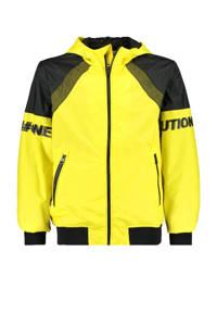 CoolCat Junior zomerjas Joell met tekst geel/zwart, Geel/zwart