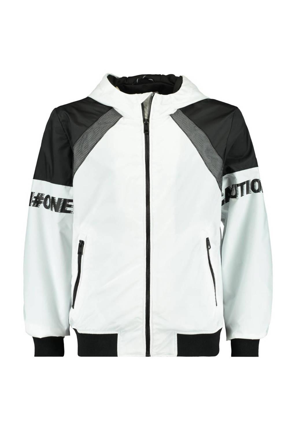 CoolCat Junior zomerjas Joell met tekst wit/zwart, Wit/zwart