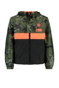 CoolCat Junior zomerjas Jason met camouflageprint donkergroen/zwart/oranje, Donkergroen/zwart/oranje