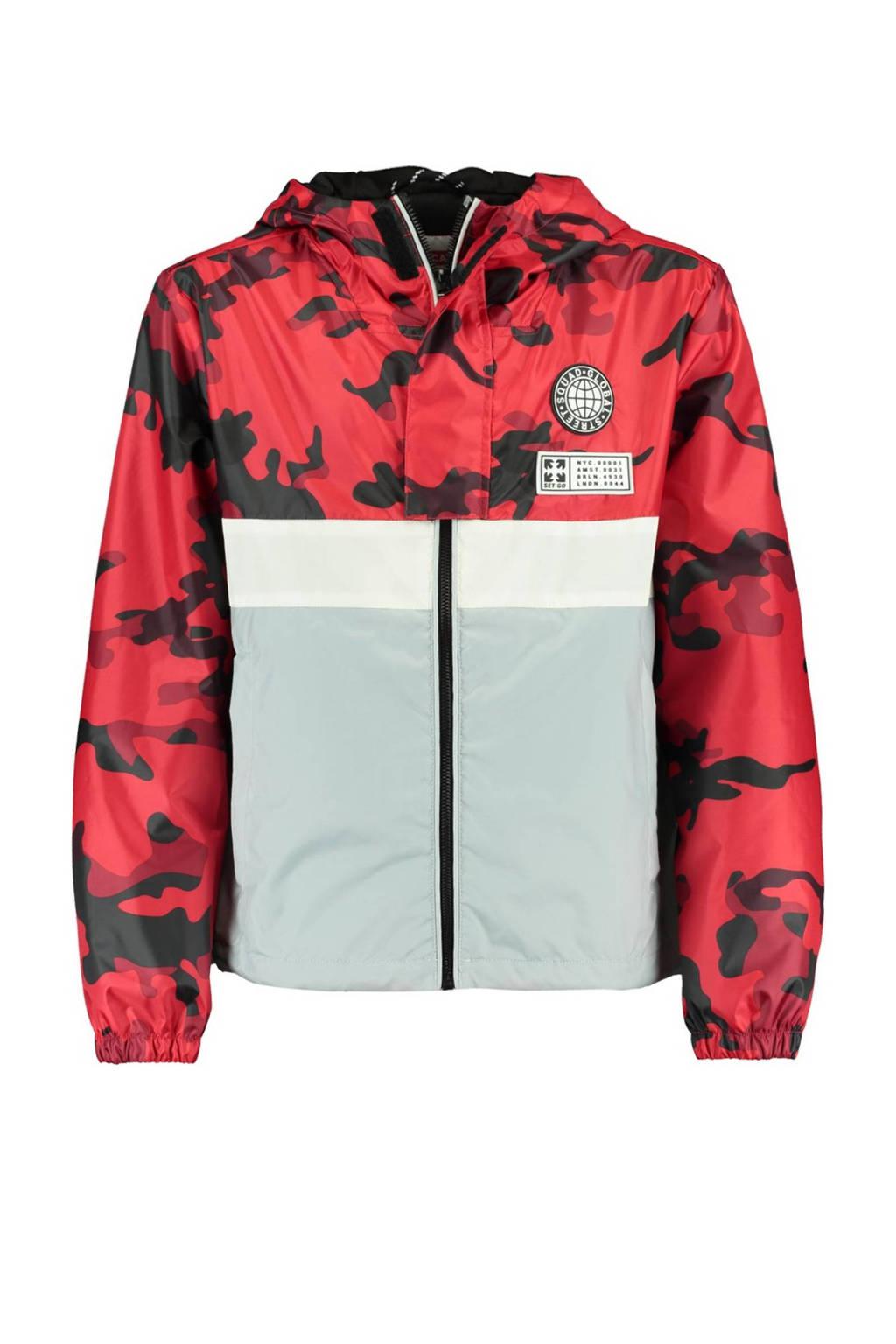 CoolCat Junior tussenjas Jason met camouflageprint rood/grijs/zwart, Rood/grijs/zwart