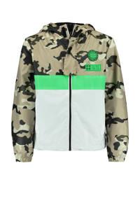 CoolCat Junior zomerjas Jason met camouflageprint beige/zwart/groen, Beige/zwart/groen