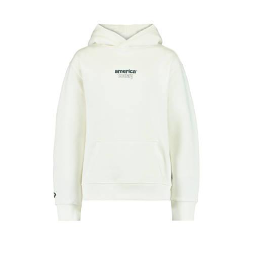 America Today Junior hoodie Sora met tekst ecru/zw