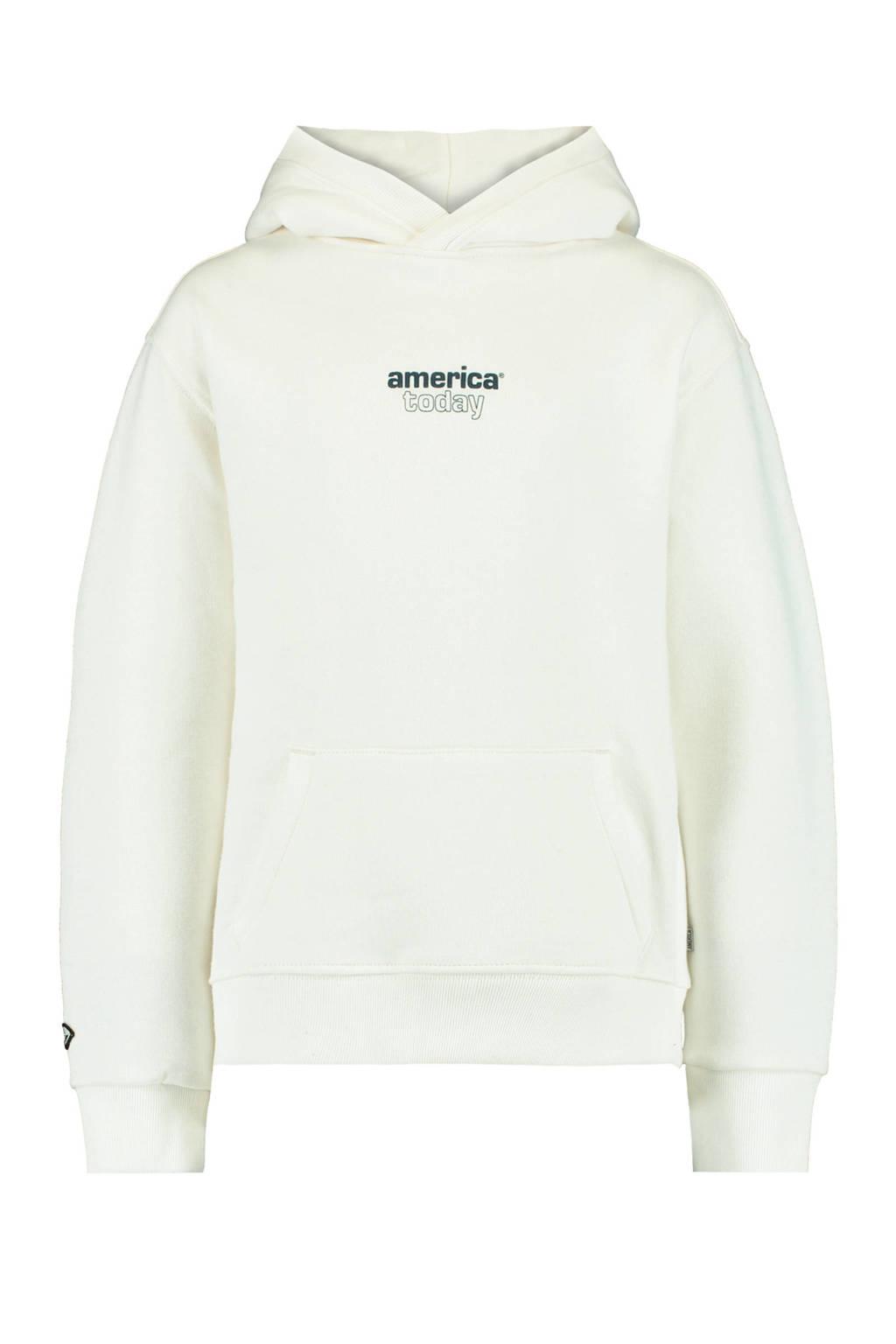 America Today Junior hoodie Sora met tekst ecru/zwart, Ecru/zwart