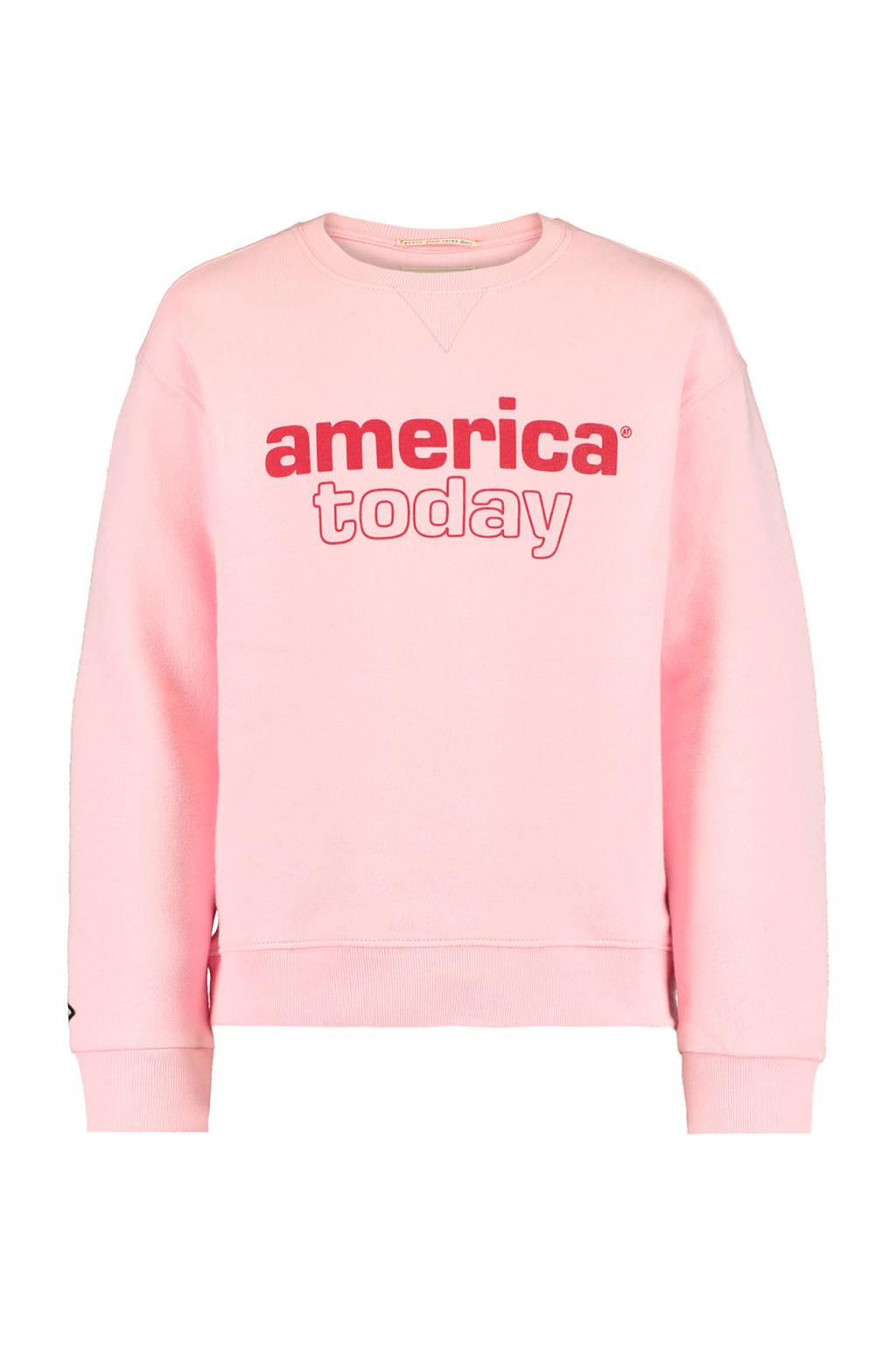 America Today Junior sweater Summer met logo lichtroze/rood, Lichtroze/rood