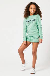 America Today Junior sweater Summer met logo mintgroen/zwart, Mintgroen/zwart