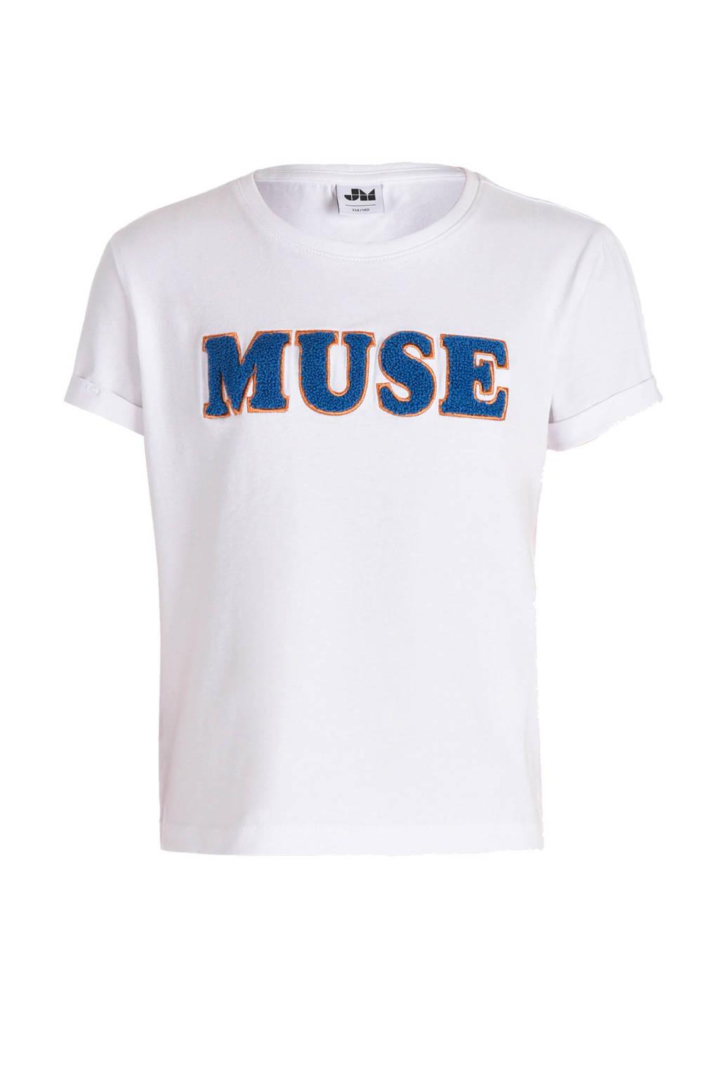 JILL MITCH T-shirt met tekst en borduursels wit/donkerblauw/goud, Wit/donkerblauw/goud
