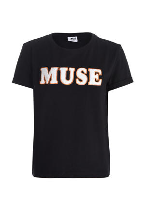 T-shirt Twist met tekst en borduursels zwart/wit/goud